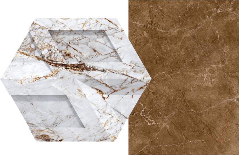 Revestimento de concreto no padrão Gold, da Castelatto (à esq.) e porcelanato Travertino Gold, linha In Out Premium, da Incefra (à dir.)