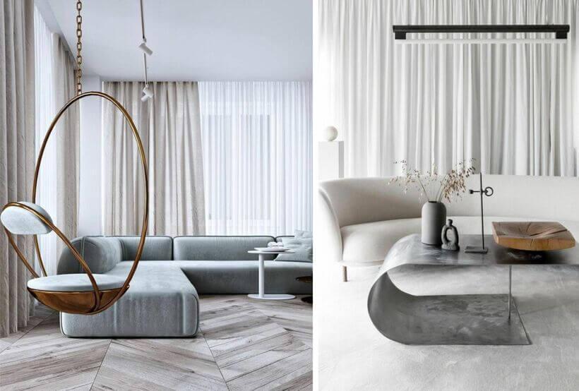 Elementos de metal combinados com móveis brancos e claros também formam uma decoração futurista