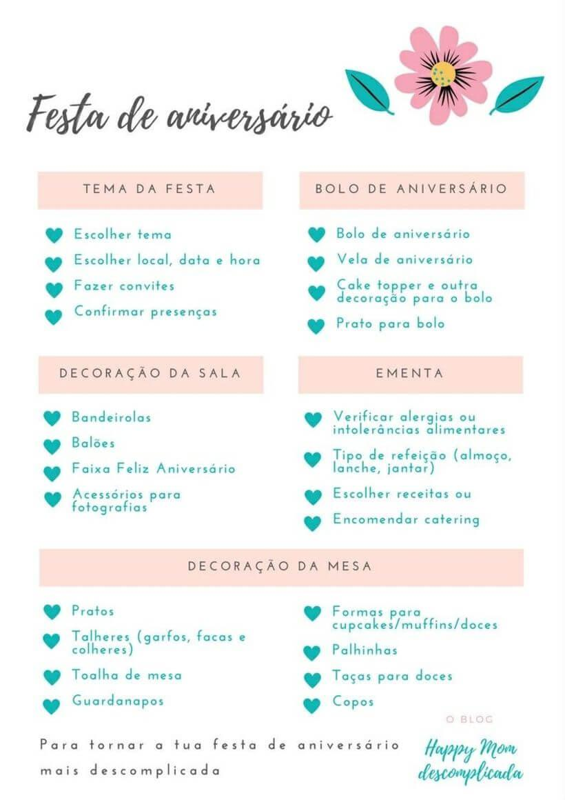 Checklist de aniversário