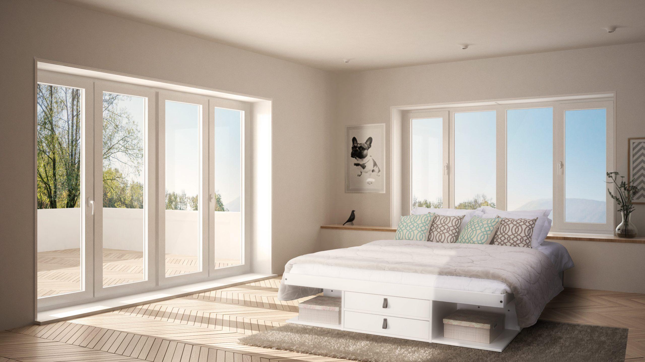 Cor clara na parede do quarto